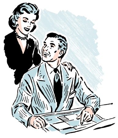 homeoffice: A vintage portrait of a happy looking couple