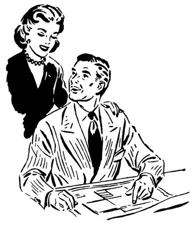Een zwart-wit versie van een vintage portret van een gelukkig paar op zoek