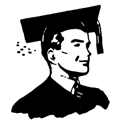 A black and white illustration of a graduate Stock Photo