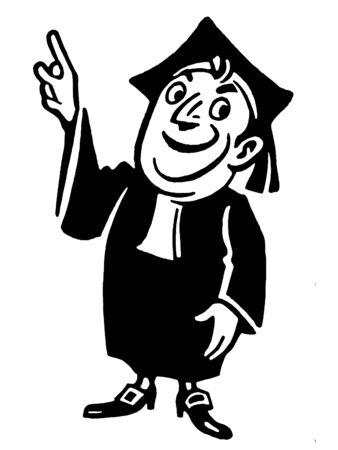 A cartoon style illustration of a graduate illustration