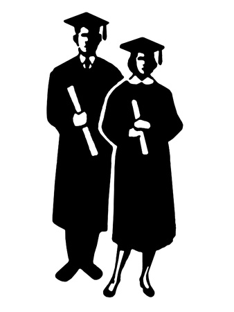 A black and white illustration of two graduates with their diplomas illustration