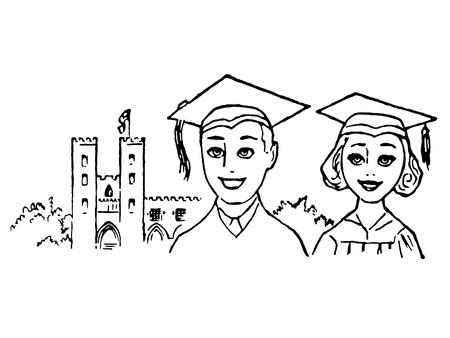 A black and white illustration of two graduates illustration