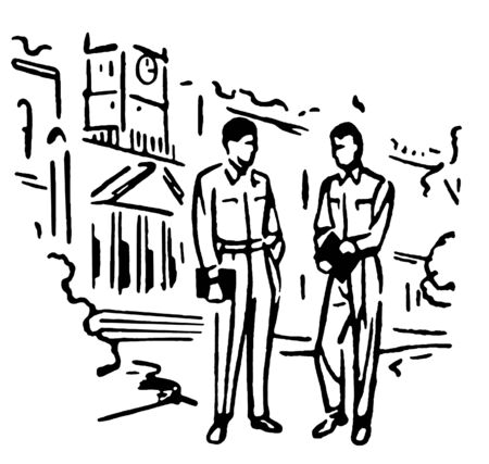 conversing: Two men standing in front of an educational institution