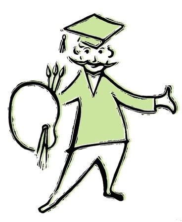 A drawing of a graduating artist