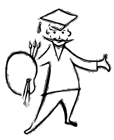 A black and white version of a drawing of a graduating artist