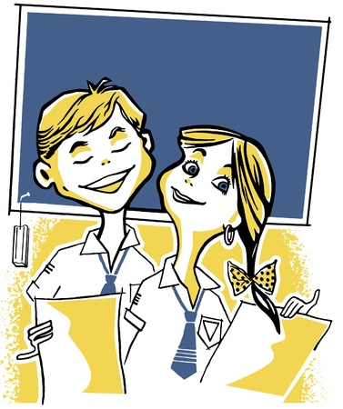An illustration of two young school children