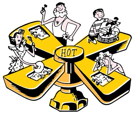 A cartoon style illustration of four basins on a tap Stock fotó