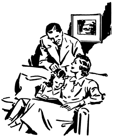 recreation rooms: A black and white version of a vintage illustration of a family relaxing at home