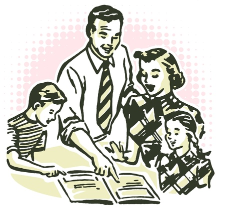 A vintage illustration of a family working together illustration