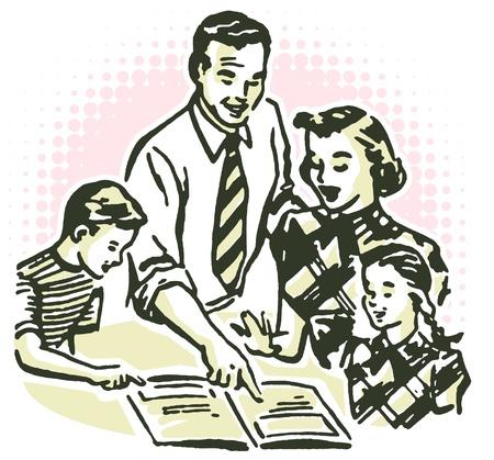 A vintage illustration of a family working together Standard-Bild
