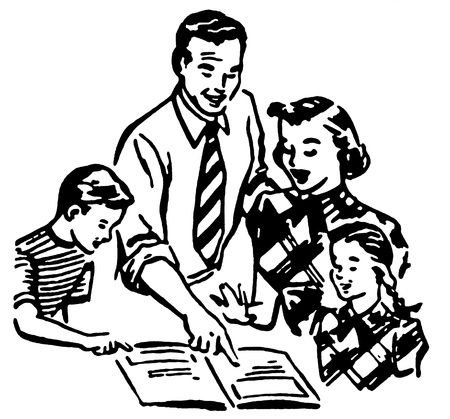 A black and white version of a vintage illustration of a family working together illustration
