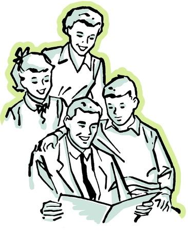 A vintage illustration of a family working together Stock Illustration - 14918258