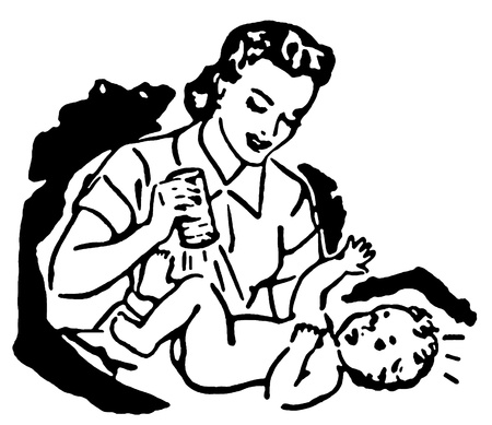 A black and white version of a mother changing a young child's diaper photo
