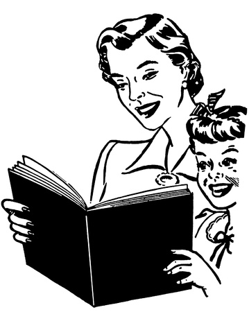 A black and white version of a mother reading to her child