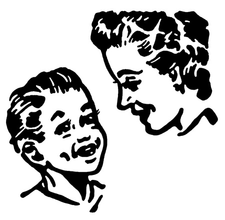 A black and white version of a mother and son Stock Photo