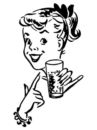 A black and white version of a young girl enjoying a refreshing drink