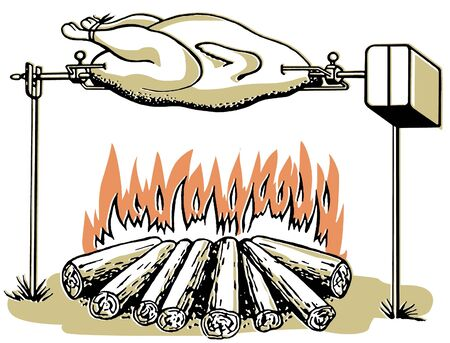 open flame: An illustration of a chicken roasting on an open fire