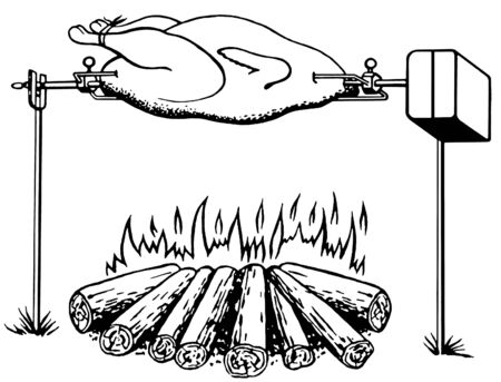 A black and white version of an illustration of a chicken roasting on an open fire Фото со стока