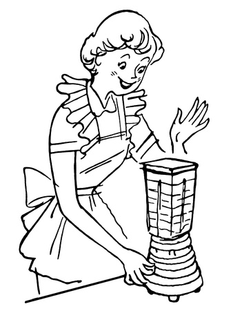 A black and white version of a vintage illustration of a woman using a blender illustration