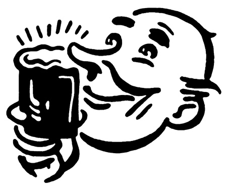 steins: A black and white version of a print of a man enjoying a quite drink