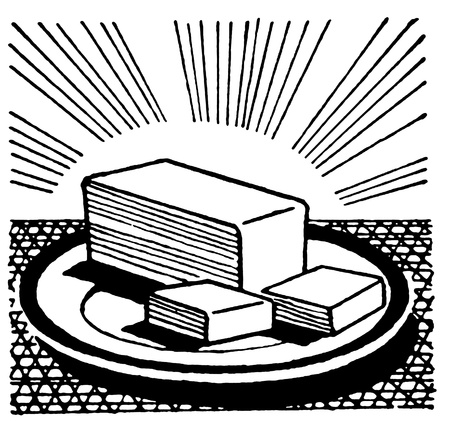 slab: A black and white version of an illustration of a slab of cut butter