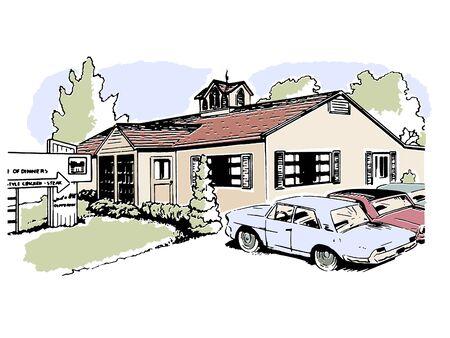 suburban: A vintage illustration of a suburban home Stock Photo