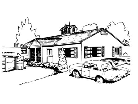 A black and white version of a vintage illustration of a suburban home Stock Photo