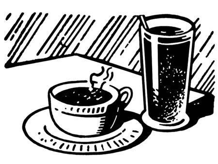 A black and white version of a print of a coffee and drink Stock fotó