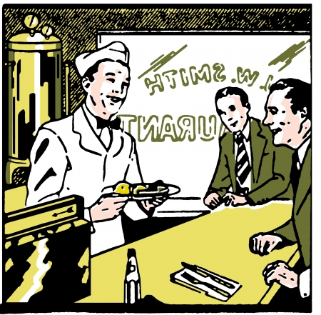 A graphic vintage illustration of a diner counter