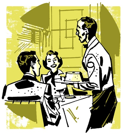 A vintage illustration of a couple dining at a restaurant illustration