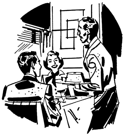 delighted: A black and white version of a vintage illustration of a couple dining at a restaurant