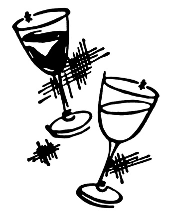 white wine: A black and white version of two glasses of wine