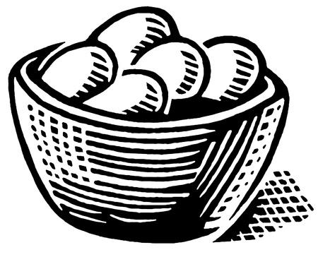 卵のバスケットの印刷の黒と白のバージョン