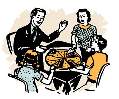 A family sharing a pizza together