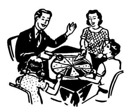 Une version noir et blanc d'une famille partageant une pizza ensemble Banque d'images - 14918097