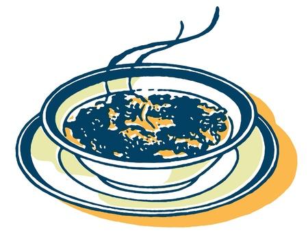 Een afdruk van een kom soep Stockfoto