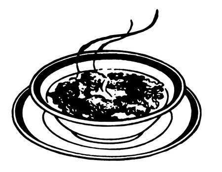 A black and white version of a print of a bowl of soup photo