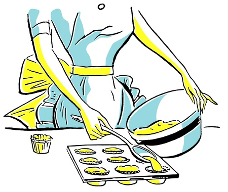 midsection: A vintage illustration of a woman baking muffins