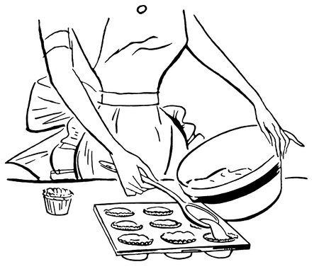 indulgence: A black and white version of a vintage illustration of a woman baking muffins Stock Photo