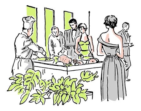 A vintage illustration of a group enjoying a buffet
