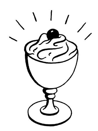A black and white version of an illustration of an ice-cream Sunday illustration