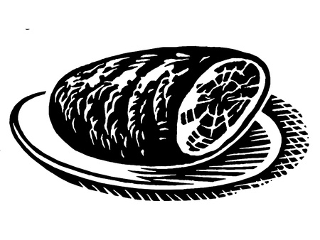 meats: A black and white version of a vintage print of a ham