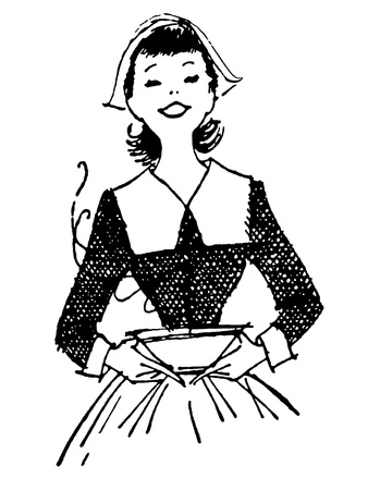 homemakers: A black and white version of a vintage print of a woman delivering a hot meal