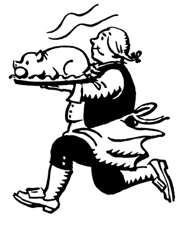 A black and white version of a vintage print of a man running with a roasted pig Standard-Bild