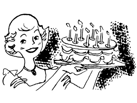 domesticity: A black and white version of a vintage illustration of a woman holding a birthday cake Stock Photo