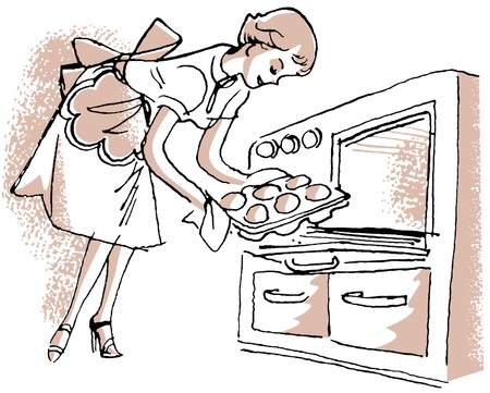 A vintage illustration of a woman removing buns from the oven