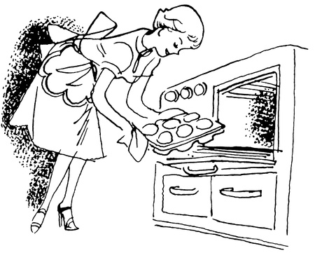 stove: A black and white version of a vintage illustration of a woman removing buns from the oven
