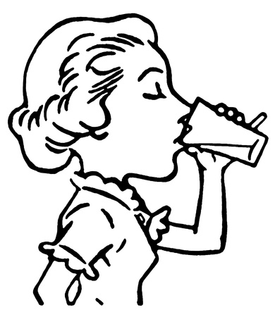 A black and white version of a line drawing of a woman enjoying a refreshing drink Фото со стока