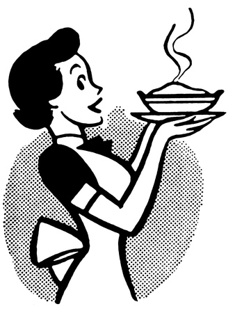 A black and white version of a vintage cartoon of a woman holding a hot pie