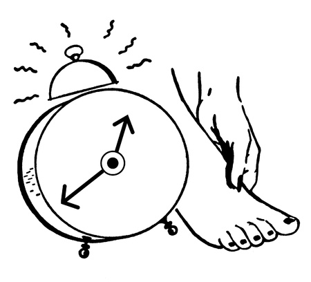 A black and white version of an illustration of a clock and a foot
